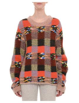 Crewneck Long Sleeve Check Patchwork Alpaca Blend Sweater by Missoni