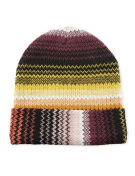 Zigzag Wool Blend Beanie Hat by Missoni Accessories
