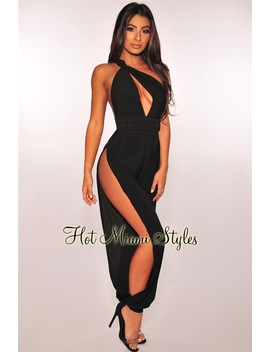 Black Muti Wear Slit Harem Jumpsuit by Hot Miami Style