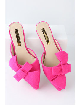 Marmont Fuchsia Pointed Toe Mules by Lulu's