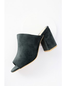 Access Forest Green Corduroy Peep Toe Mules by Lulu's