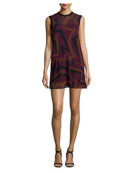 Sleeveless Ribbed Geometric Knit Dress, Fuchsia by M Missoni