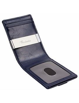 Travelambo Mens Rfid Blocking Front Pocket Minimalist Slim Wallet With Pull Tab Money Clip by Travelambo