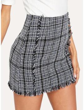 Frayed Trim Plaid Tweed Skirt by Shein