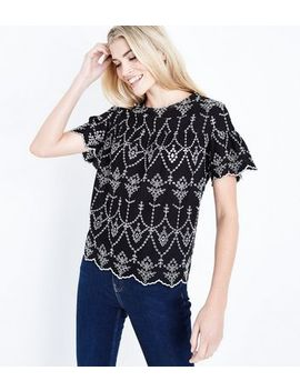 Black Broderie Scallop Hem Smock Top by New Look