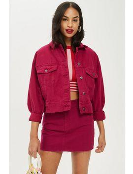 Petite Raspberry Denim Jacket And Skirt Set by Topshop