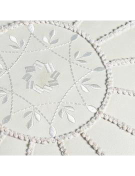Pearl White Embroidered Leather Pouf by World Market