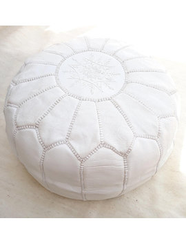 Moroccan Pouf Handmade, Genuine Leather Footstool, White Color Ottoman   Unstuffed by Saharian Souk