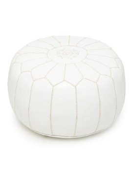 Moroccan Luxury White Handmade Leather Pouf by Handmade Poufs Ma