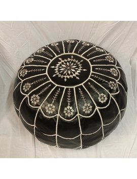 Sale ** Stuffed Moroccan Leather Pouf Ottoman With Top And Sides Embroidery In Black And White  With Arch Designs by Sousou Design
