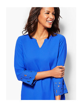 Embroidered Sleeve Tunic Top by Talbots