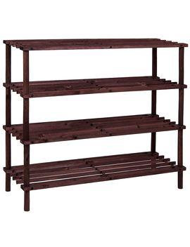 2 3 4 Tier Shoe Rack Slated Dark Oak Natural Walnut Wood Footwear Storage Unit by Ebay Seller