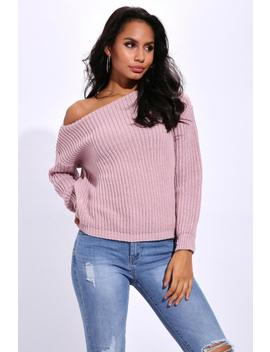 Cherry Pink Knit Slash Neck Jumper by I Saw It First