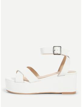 Criss Cross Platform Wedge Sandals by Sheinside