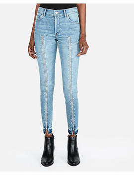 High Waisted Zip Front Stretch Ankle Jean Leggings by Express
