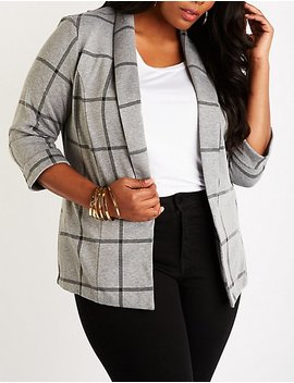 Plus Size Plaid Open Front Blazer by Charlotte Russe