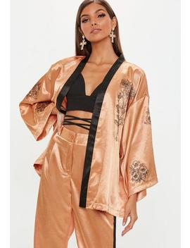 Camel Contrast Floral Tie Waist Jacket by Missguided