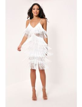 White Fringe & Lace Midi Dress by I Saw It First