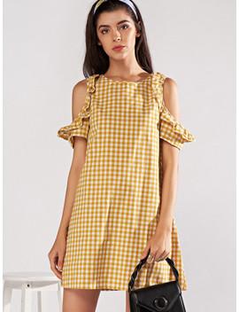 Open Shoulder Frill Trim Plaid Dress by Sheinside