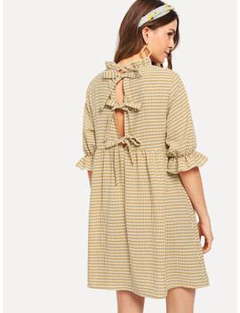 Bow Tie Back Ruffle Trim Plaid Dress by Shein