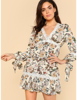 Surplice Neck Lace Insert Floral Dress by Shein
