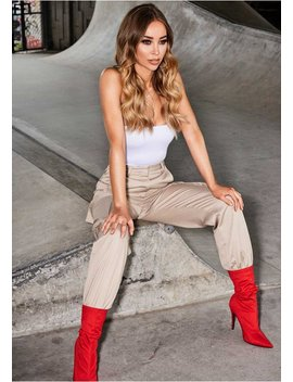 Jackie Beige Cargo Trousers by Missy Empire