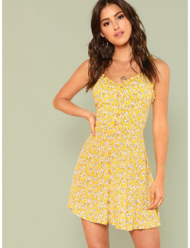 Fit & Flared Floral Cami Dress by Shein