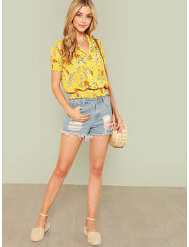 Notch Neck Pearl Accent Shirred Panel Floral Top by Shein