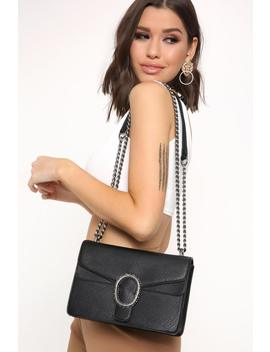 Black Faux Leather Cross Body Chain Bag by I Saw It First