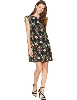 Ruffle Trim Chiffon Floral Dress by Tahari By Asl