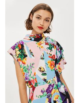 Floral Print Cowl Back Midi Dress by Topshop