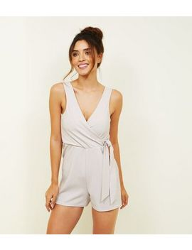 Pale Pink Glitter Wrap Party Playsuit by New Look