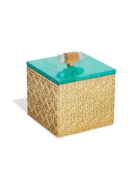 Square Filigree Box In Variegated Teal Magnesite by Kendra Scott
