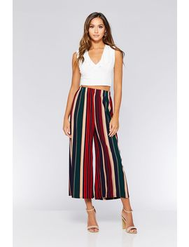 Green & Red Stripe Pleated Culotte Trousers by Quiz