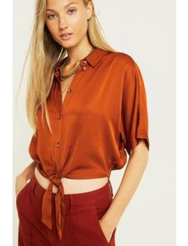 Uo Jenna Bronze Satin Tie Front Shirt by Urban Outfitters