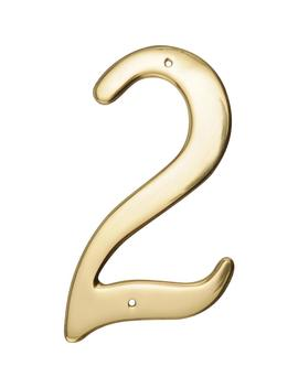 4 In. Solid Brass Number 2 by The Hillman Group