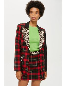 Mixed Tartan Jacket And Skirt Set by Topshop
