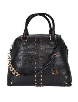 Michael Kors Large Black Leather Uptown Astor Convertible Dome Handbag by Michael Kors