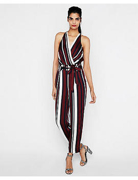 Petite Striped Belted Surplice Jumpsuit by Express