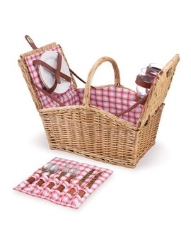 Picnic Time Piccadilly Willow Picnic Basket For Two People, With Plates, Wine Glasses, Cutlery, And Corkscrew   Red/White Plaid by Picnic Time