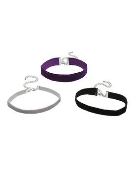 Blackheart Black Purple & Grey Velvet Choker Set by Hot Topic
