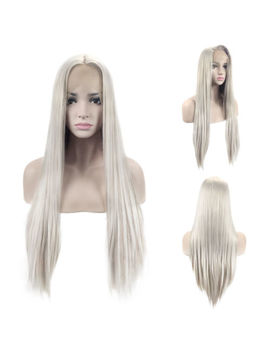 28 Inch Silver Gray Wig Silky Straight Synthetic Hair Lace Front Wigs Heat Safe by Ebay Seller