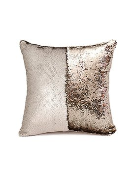 "Snug Star Two Color Decorative Pillow Case Square Paillette Throw Mermaid Sequins Cushion Covers 16 X 16"" For Home Decor Party/Sofa/Bed (Matt Champagne And Light Gold) by Snug Star"