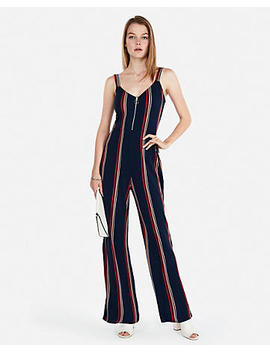 Striped Zip Front Jumpsuit by Express