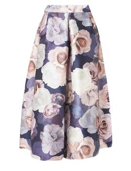 **Luxe Multi Coloured Dark Floral Print Skirt by Dorothy Perkins