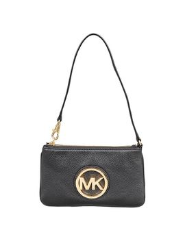 Michael Michael Kors Black Leather Fulton Wristlet Clutch Bag by Michael Kors