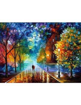 Paint By Numbers For Senior Junior Beginner Level, Paint By Numbers Set Lovers Walking In The Street With Brushes Paints And Canvas Home Decor Romantic Street 16*20 Inch Frameless by Amazon