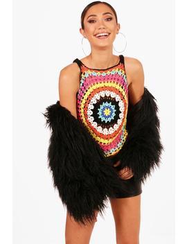 Multi Coloured Crochet Vest by Boohoo