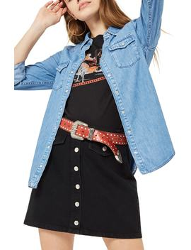 Gigi Fitted Denim Western Shirt by Topshop