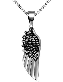 "Xusamss Hip Hop Titanium Steel Angel Wing Pendant Necklace With 24"" Chain by Xusamss"